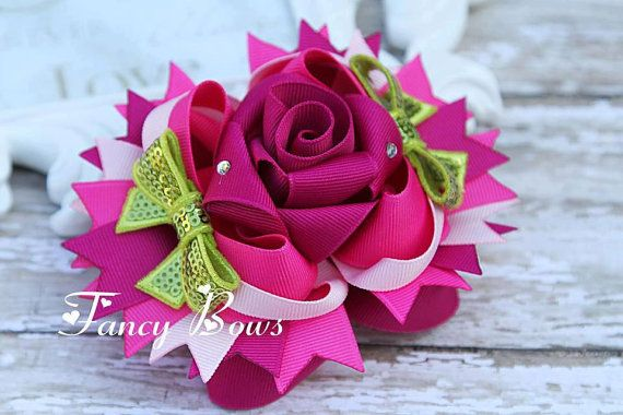 Wild Raspberry  Fancy Rose Stacked boutique bow. by fancybows, $15.00