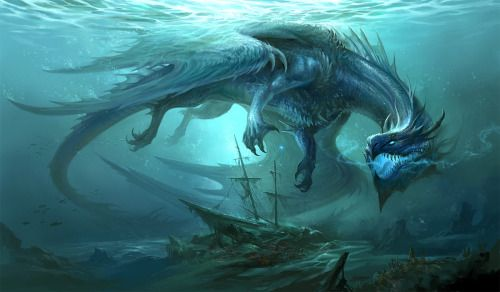 Blue Dragon – fantasy concept by Sandara Tang