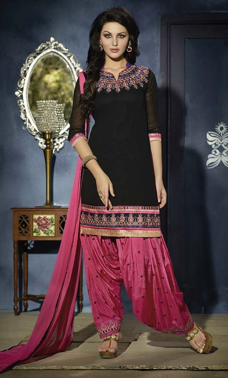 Black and Pink Cotton with Embroidery work Patiala salwar Suit with Pure Chiffon Dupatta