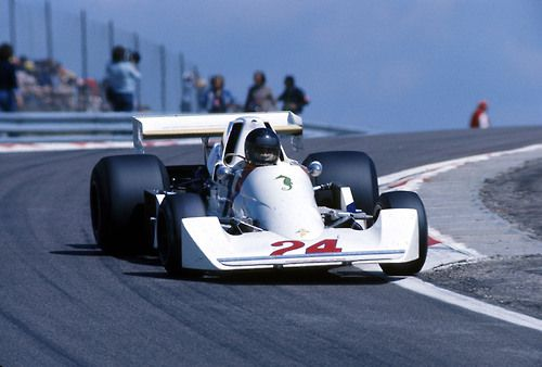 James Hunt, Hesketh-Ford, #24, (finished 8th), Swiss GP, held on August 24 at the Dijon-Prenois racetrack in France, due to a ban on motor racing in Switzerland since the 1955 Le Mans disaster, 1975.