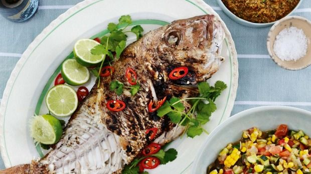 Grilled fish with mexican-style sauce