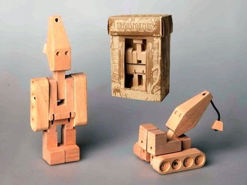 Wooden Transformer - Crane A wooden version of a transformer! Super cute. All natural, elasticised movement, no plastic or batteries needed..