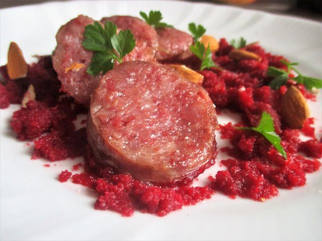 FORNELLI IN FIAMME: COTECHINO ON A BASE OF BEET AND ALMOND SAUSAGE - C...