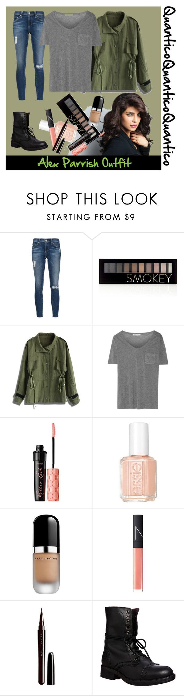 """""""Alex Parrish Outfit"""" by cheyy528 ❤ liked on Polyvore featuring AG Adriano Goldschmied, Forever 21, Chicwish, T By Alexander Wang, Benefit, Essie, Marc Jacobs, NARS Cosmetics and Steve Madden"""