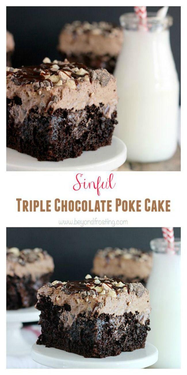 11Triple Chocolate Poke Cake