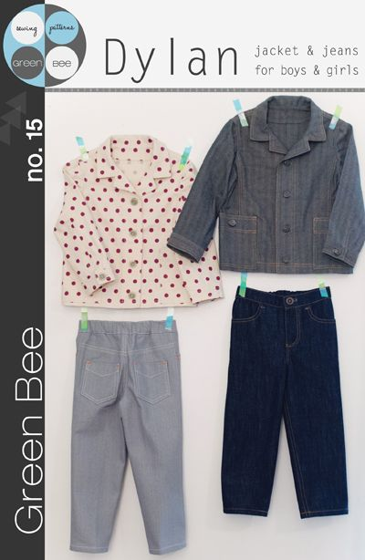Green Bee Sewing Pattern, Dylan Jacket & Jeans   A work wear style jacket and classic slim jeans for boys and girls.   See inset image for materials and fabric requirements.