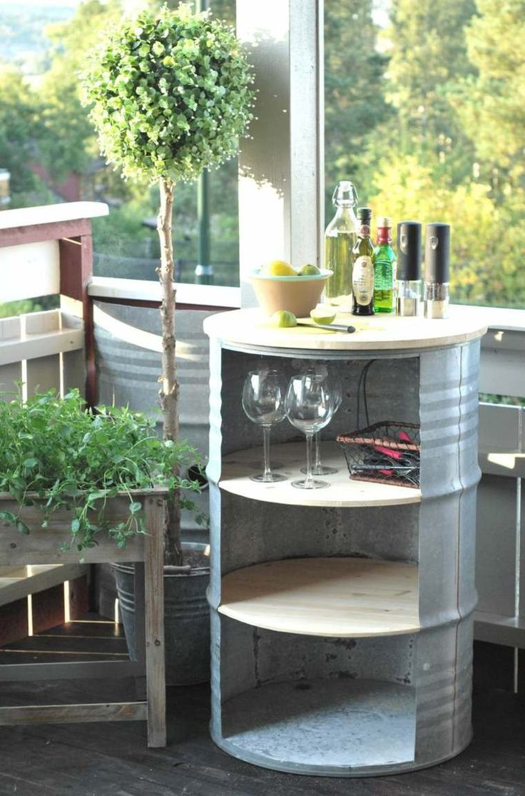 table haute en bidon