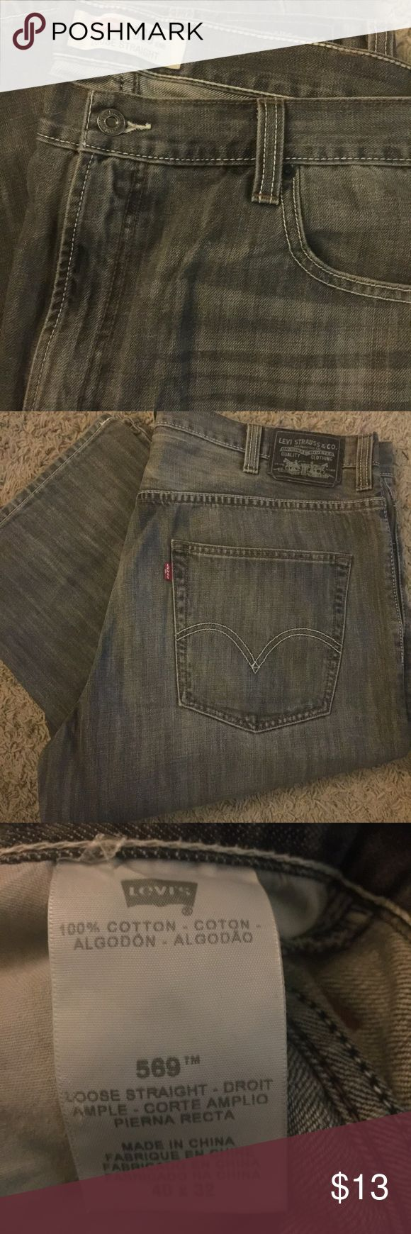 Men's Levi's 569 Gray Jeans / Size 40x32 Finally convinced my husband to clean out his closet & found some great pre-loved stuff. These items all still have tons of life left in them for the man in your life! These are very nice Levi's 569 jeans in a gray wash (no holes, rips or stains). Very soft denim. These are in VGUC / Size 40x32 Levi's Jeans