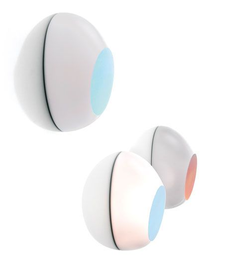 The colour variation of  #Goggle's #walllamp flat surface is created solely by the different angle from which it is observed. The lamp's colour changes are in fact caused by an iridescent film that exploits in-mould decoration technology to become an integral part of the diffuser. http://www.luceplan.com/Prodotti/1/2/135/Goggle