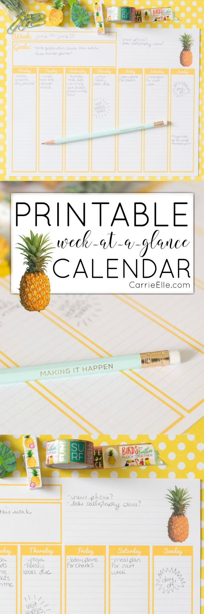 Printable Weekly Calendar via @carrieelleblog