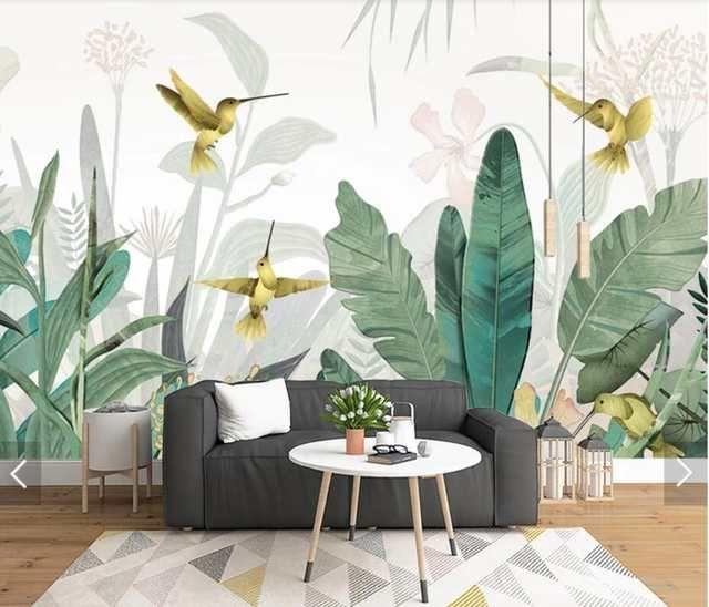 3D Tropical Banana Blätter Vogel Tapete Wandbild für Wohnzimmer Wand Dekor Handgemalte Kontaktieren Papier Wandbilder Wand Papier Anpassen – Kate Mccarrick