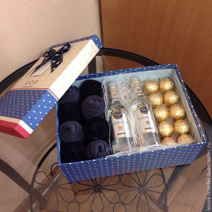 Купить Мужская коробка с носками,конфетами,алкоголем - синий, подарок мужу, подарки для мужчин
