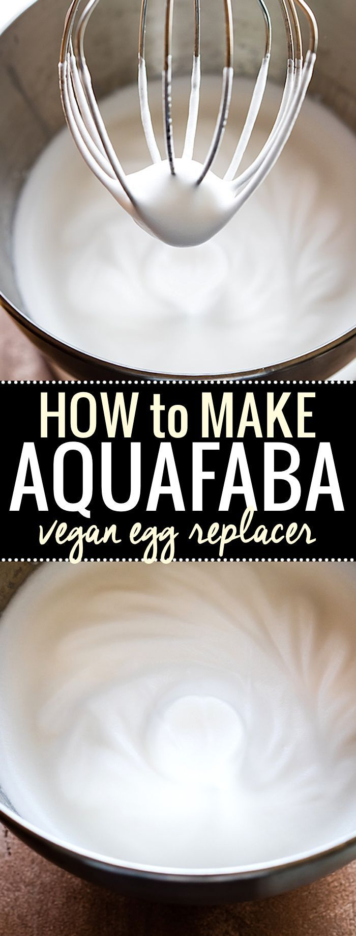 Aquafaba is the new trend in Vegan baking and Egg Free baking. It's easy, healthy, and versatile! You can whip it up to use in place of egg whites, or just use the juice (Chickpea brine) for whole egg baking.  Learn how to make Aquafaba with just a can of