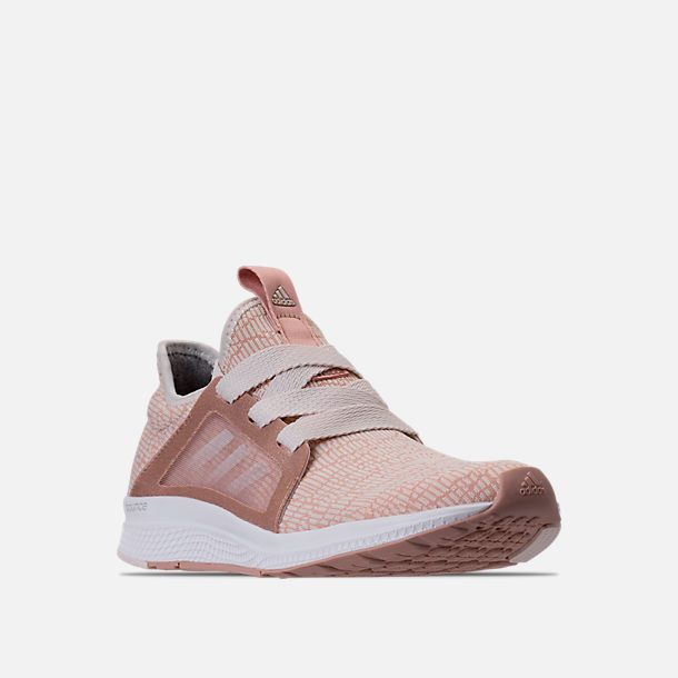 new product 9e7d2 8ceb0 Three Quarter view of Womens adidas Edge Luxe Running Shoes in Ash  PearlWhite