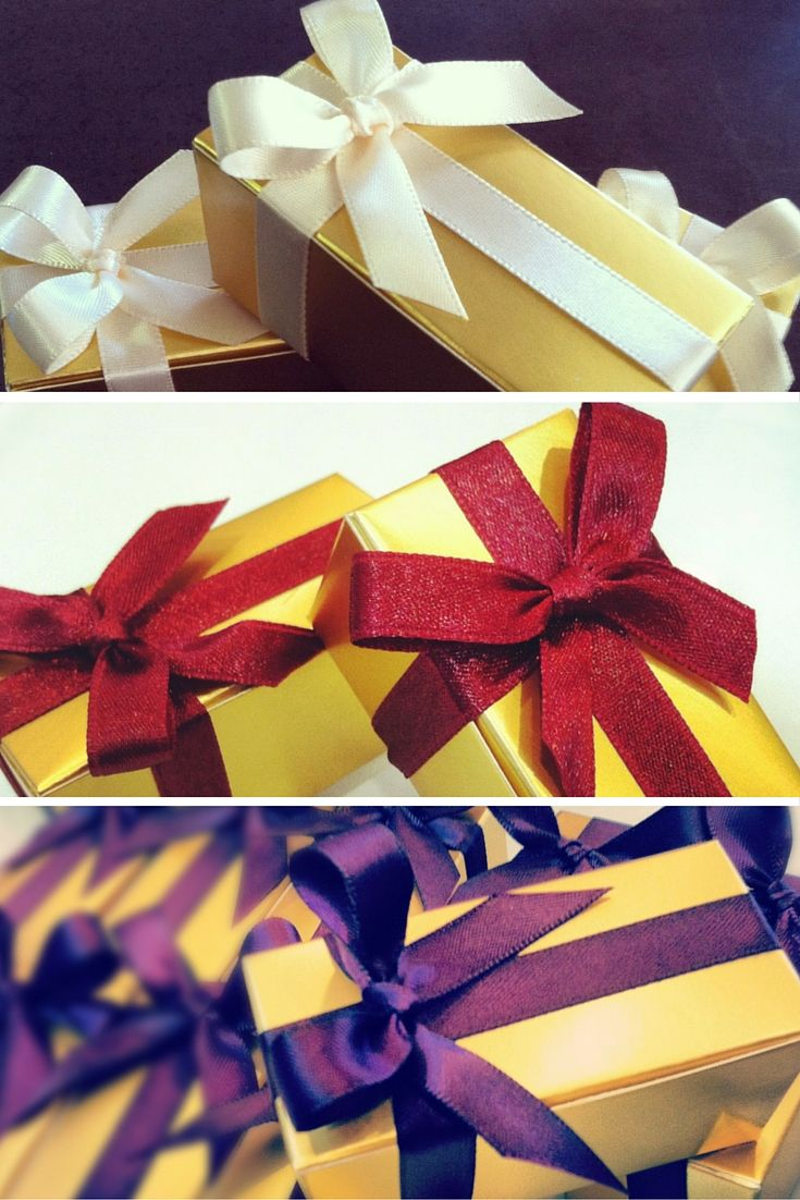 Gold boxes with a variety of ribbon colors available for your wedding favors! Each box pictured here contains 2 caramels for you guests to enjoy.