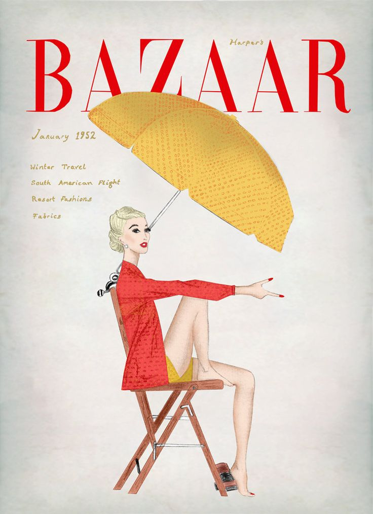 Harpers Bazaar January 1952 Vintage Magazine Cover