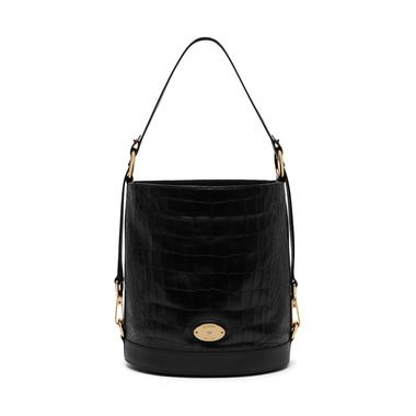 Mulberry - Jamie in Black Deep Embossed Croc Print