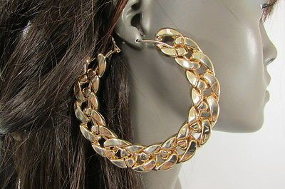 Casual Women Chunky Thick Gold Chains Large Fashion Round Earrings Set Hook