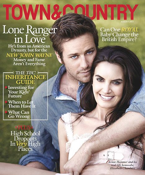 Armie Hammer and his wife Elizabeth Chambers cover the August 2013 issue of Town & Country.
