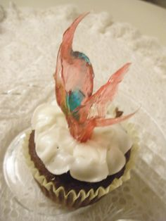 """My version of """"Chihuly"""" cup-cake toppers made from Jolly-Roger candy."""