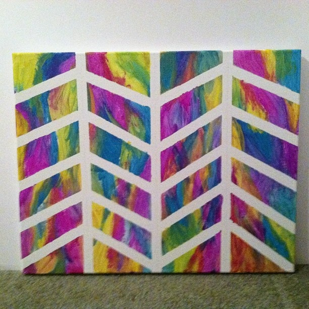 Pin by eliana milena on diy pinterest for Tape painting on canvas