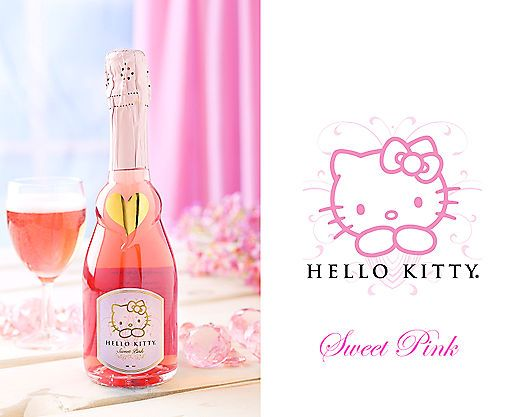 I NEED A BOTTLE OF HELLO KITTY WINE, LIKE NOWW!! | Hello Kitty Sweet Pink Wine (375 mL) at Wine Country Gift Baskets