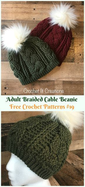 Braided Cable Beanie Hat Crochet Free Pattern – Adult #Cable; #Hat; Free #Croche…