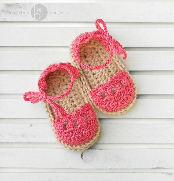 Crochet Baby Espadrille Sandals 06 months Bright ♡ by beeziebee, $16.00
