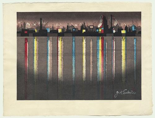 Junichiro Sekino (1914 - 1988) Japanese Woodblock Print    Yokkaichi: Oil Refinery Complex at Night    Series: The Fifty-Three Stations of the Tokaido