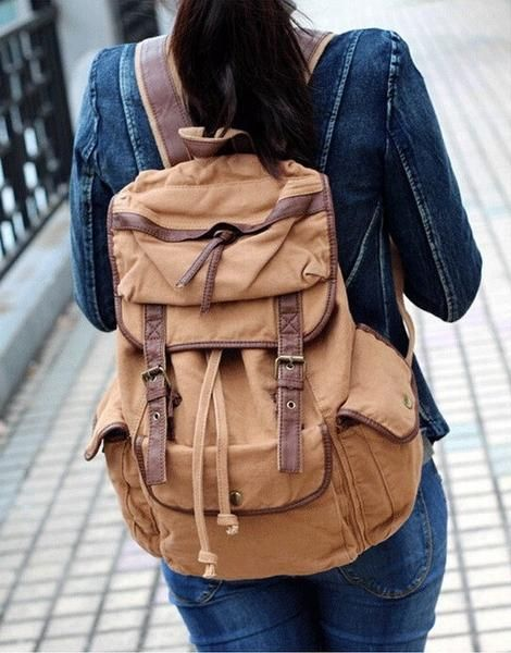 Woman wearing Serbags's Old School Solid Canvas Knapsack Backpack