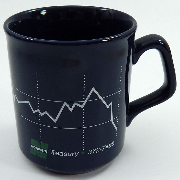 Norwest Bank Treasury Foreign Exchange Coffee Cup Collectible Blue Mug #NorwestBank