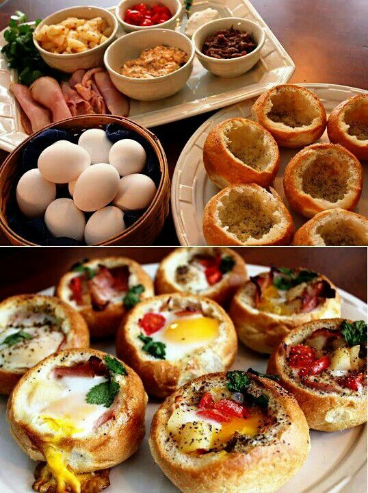 Brunch... No recipe but I need to make thes...guessing hollow out bread, 1 egg per bun, add cooked bacon, veggies, and cheese