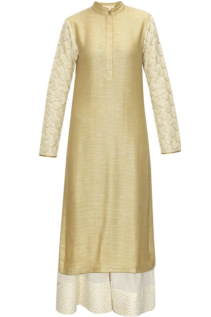 Gold leaf phulkari threadwork kurta with cream pants by Vikram Phadnis. Shop now: http://www.perniaspopupshop.com/designers/vikram-phadnis #kurta #palazzo #shopnow #vikramphadnis #perniaspopupshop