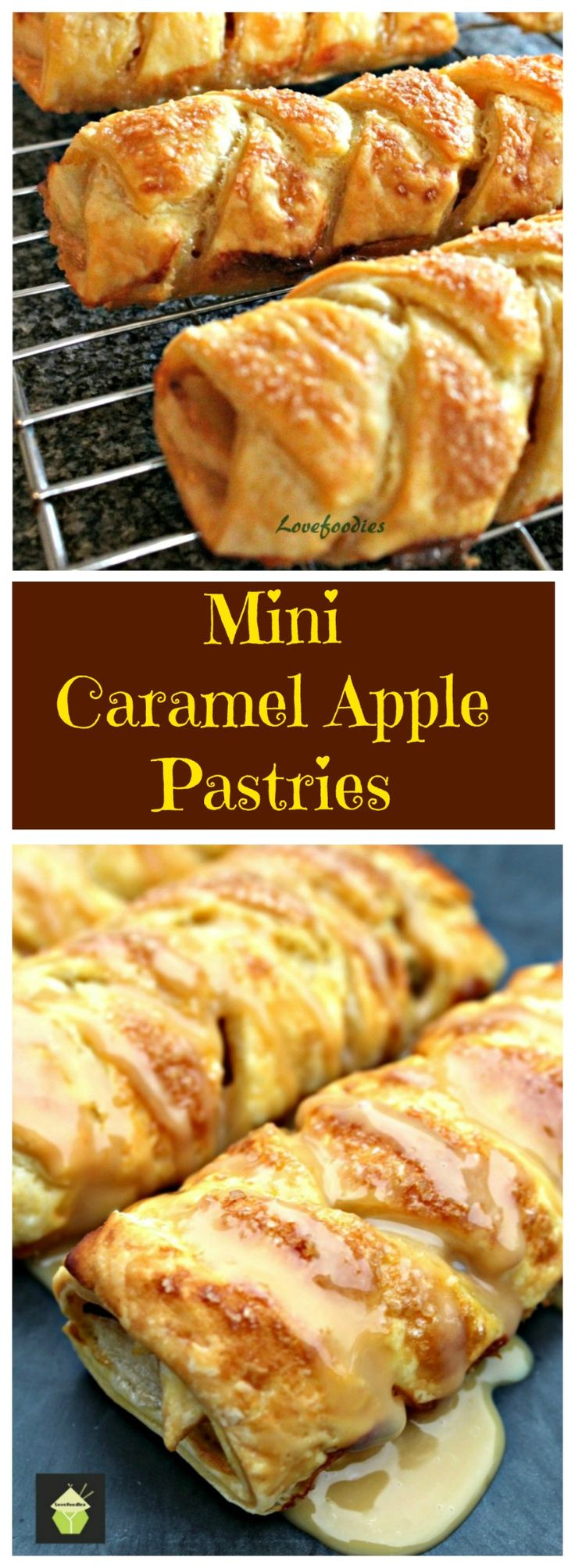Mini Caramel Apple Pastries. Delightful mini pastries filled with caramel and apples and oh so easy to make! Freeze before or after baking, both options work well!