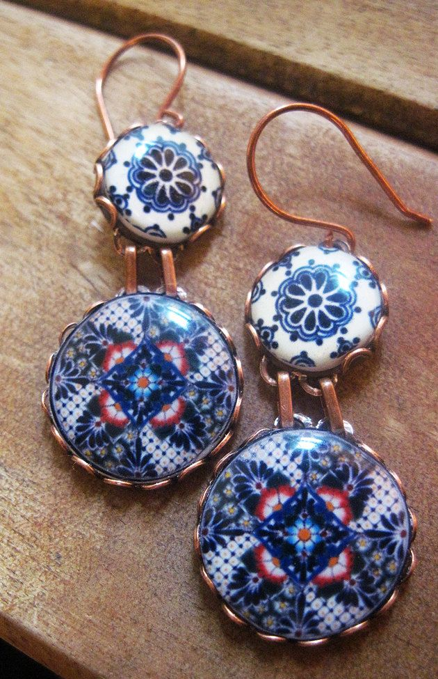 Mexican jewelry, Mexican plates, Mexican pottery design, Folk art, drop earrings, Southwestern, statement earrings, Talavera pottery. $39.00, via Etsy.