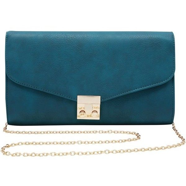M&Co Twist Lock Clutch Bag found on Polyvore featuring bags, handbags, clutches, teal, blue clutches, gold handbag, blue purse, chain strap purse and teal purse