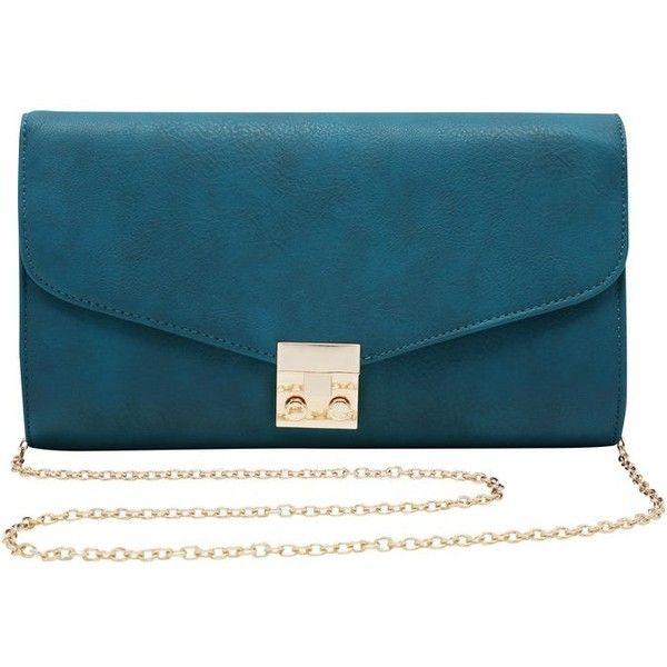 M&Co Twist Lock Clutch Bag found on Polyvore featuring bags, handbags, clutches, teal, blue clutches, gold handbag, blue purse, chain strap purse and teal purse