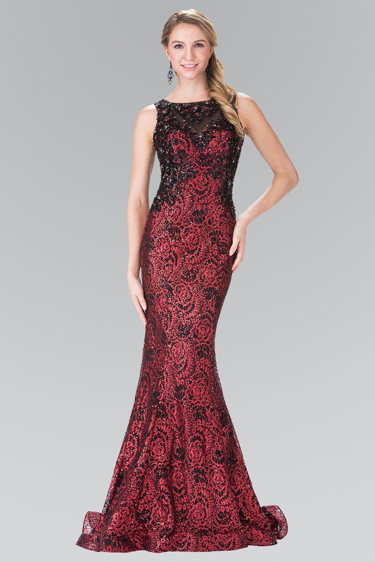 Long Flower Sequined Lace Dress by Elizabeth K GL2268