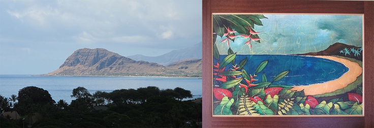 On the left is the actual view from our window; on the right is the glorious piece of artwork on the wall of our room!