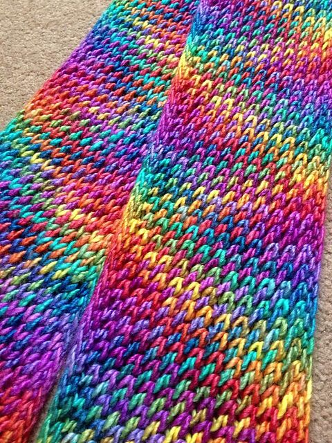 Slip Stitch Pattern.  Ravelry: Spectacular Single Skein Scarf pattern by Jo Haward {free}