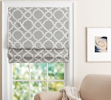 Kendra Trellis Cordless Roman Shade / for the wider window over your sink, buy an extra curtain panel and have it made into a faux roman