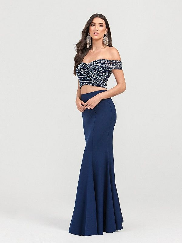 aa5a6aea2e Val Stefani 3436RG includes a sparkly off-the-shoulder crop top and a  mermaid skirt. This gown comes in a romantic navy color, giving you the  perfect look ...