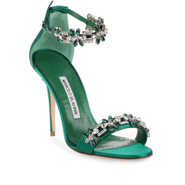 Manolo Blahnik Firadou 105 Emerald Crystal Sandal (£995) ❤ liked on Polyvore featuring shoes, sandals, heels, обувь, green, green heeled sandals, crystal embellished sandals, crystal sandals, ankle strap heel sandals and clear heel sandals