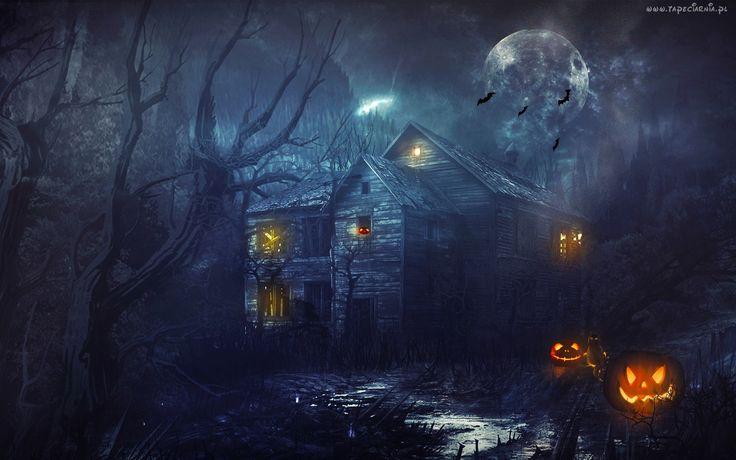 Dynie, Kot, Dom, Drzewa, Księżyc