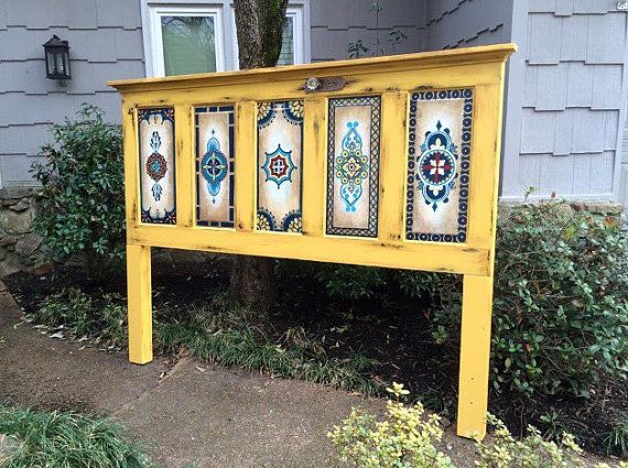 Old Wood door hand painted vintage antique by OneInAMillionFinds
