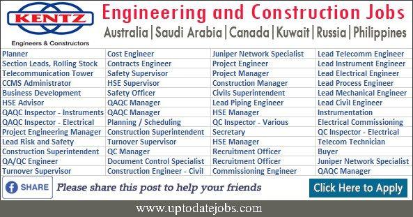 Kentz Engineering Construction Jobs Vacancies Construction Jobs Engineering Jobs Australia