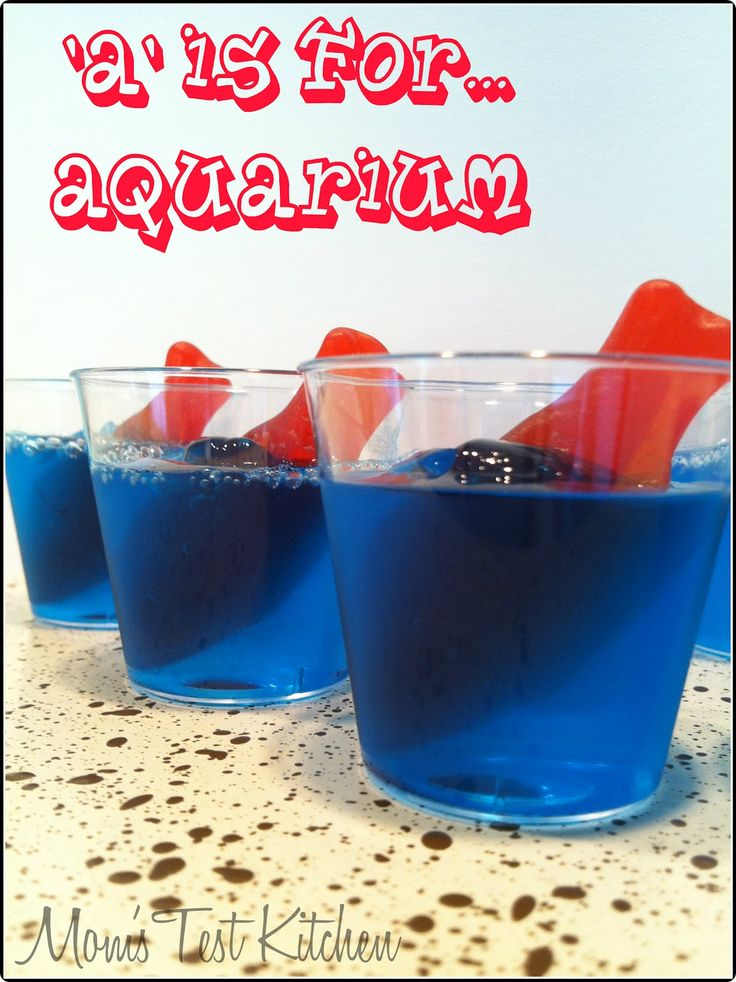 Jello aquariums you can also soak the fish gummies in for Swedish fish shot
