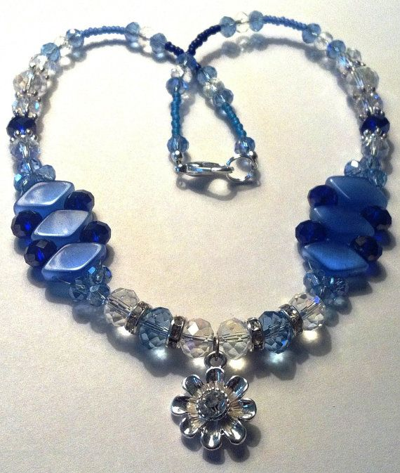 16 inch handmade sapphire blue and clear by MGBeadCreations, $25.00