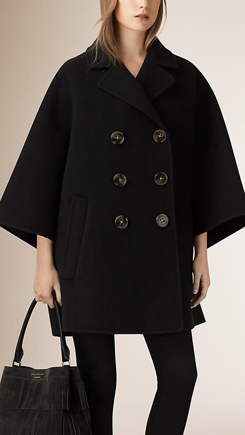 Black Double-Breasted Wool Poncho Coat - Image 1