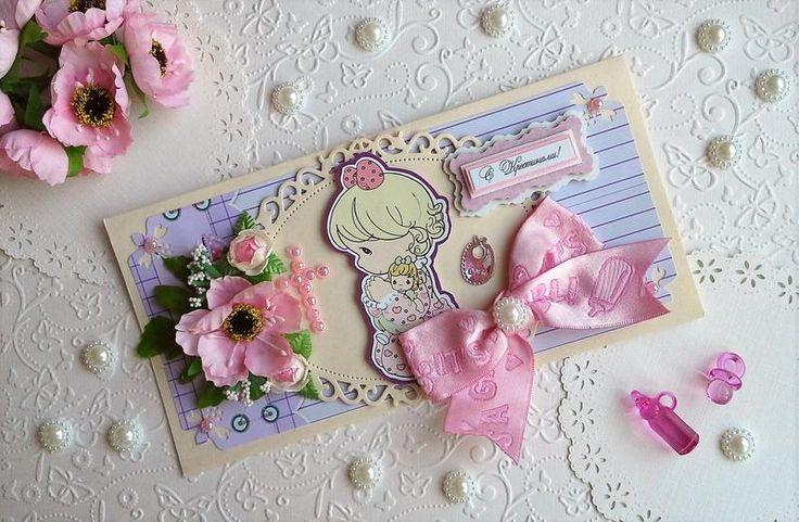Авторская открытка ручной работы на крестины девочки. Милая открыточка с розовым бантом и славной малышкой понравится всем. На внутреннем вкладыше ...